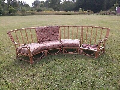 mid century modern bent wood patio sectional Heywood Wakefield rattan 4 pc