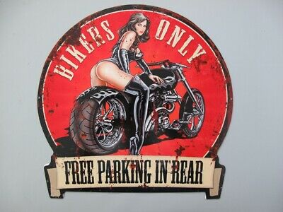 Metal Sign,Advertisement Sign Bikers only Parking Pin up Girl Wall 11 13/16x11in