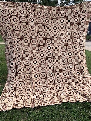 Vintage Hand Knitted Maroon & Tan Coverlet Very Intricately Done