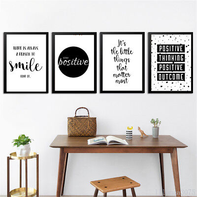 Quote Wall Art Canvas Painting Posters Black White Prints Modern Home