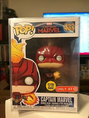 Funko Pop Marvel 433 Captain Marvel Glow Target Exclusive With Protector