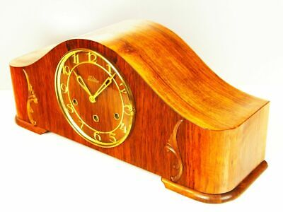 Art Deco Westminster Chiming Mantel Clock From  Lauffer Black Forest  Germany