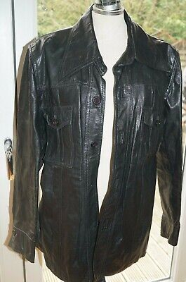 VINTAGE mens 70's INDIE/MOD Soft BLACK GENUINE LEATHER SAFARI JACKET BLAZER 44""