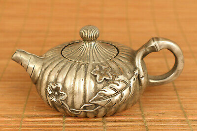 Rare old copper plating silver flower tea pot noble table decoration gift