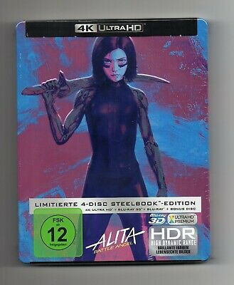 Alita: Battle Angel - 4K UHD + 3D + 2D - Limited Edition Blu-ray Steelbook - NEW