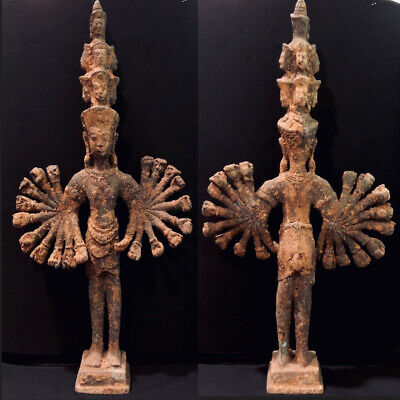 Collectible Antique Khmer Baphuon Vishnu God Buddha Statue Bronze Large 530 mm