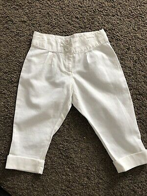 Girls Next White Linen Trousers Age 4 Years Immaculate Condition