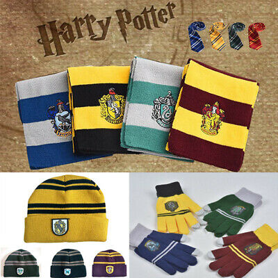 Kids Xmas Gift  Scarf Gryffindor Hat Hogwarts Gloves Slytherin Costume Cosplay