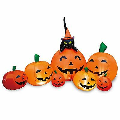 Joiedomi Halloween 7 FT Long Inflatable 7 Pumpkins with Witch's Cat with LEDs