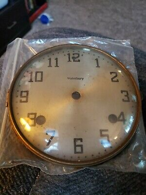 Antique WATERBURY Mantle clock face dial w/bezel glass