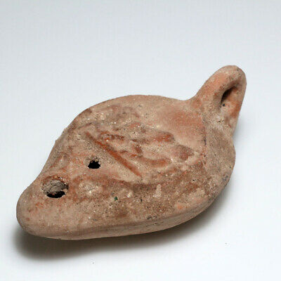 Intact Roman Terracotta Decorated Oil Lamp Circa 100-300 Ad