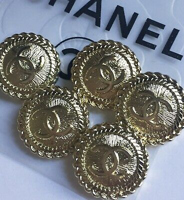 CHANEL BUTTONS lot of 5 GOLD 20 mm - over 3/4 inch metal  cc logo