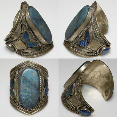 Massive-Near East Medieval Decorated Silver Plated Bracelet With Lapis Stones