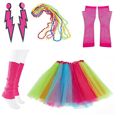 "Neon Hair Extensions UV Fancy Dress Bright Rainbow Grip 1980/'s 12/"" Funky Pink"