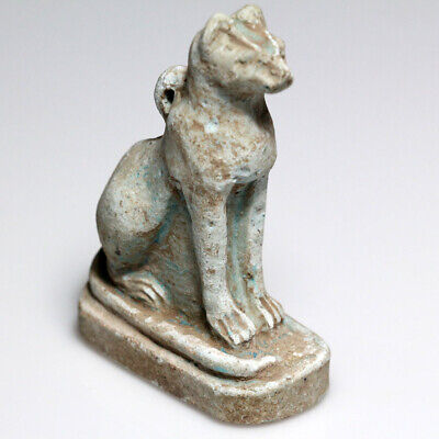 Superb Egyptian Faience Cat Statue Circa 700-300 Bc