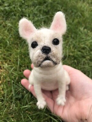 Needle felted French Bulldog Handmade Made To Order Pet Ornament Gift