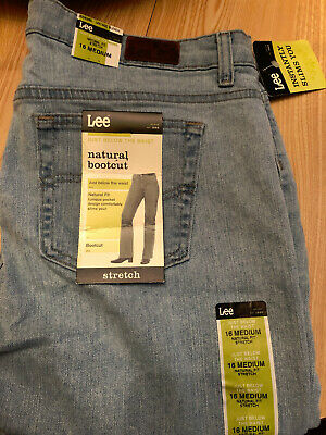Lee At The Waist Relaxed Straight Leg Stretch Blue Jeans Size 14 Medium New!