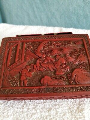 A Beautiful Antique Chinese Red Cinnabar Box