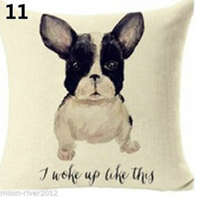 FRENCH BULLDOG Frenchie Watercolour DOG Painted LINEN COTTON CUSHION COVER UK