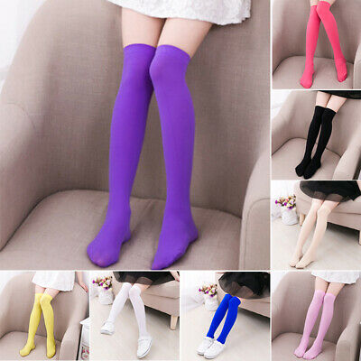 Children Kids Girls Leg Warmer Plain Above Knee Shoes Long Socks Sports Hosiery