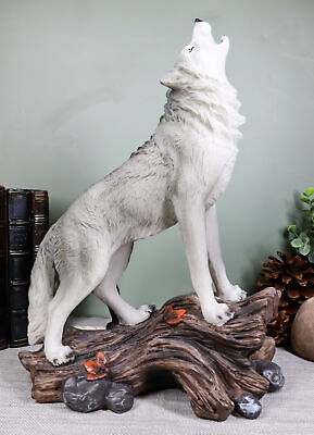 """Large Cries Of The Night Howling Alpha Gray Wolf Statue 12""""H Spirit Wolves Decor"""