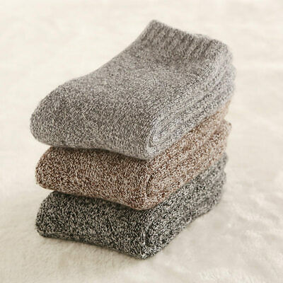 3 Pack Men Wool Cashmere Thick Warm Soft Solid Casual Sports Socks Winter New