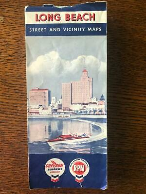 Vintage Long Beach Ca Chevron Gas Station Street Map Rpm 10-30 Supreme Motor Oil