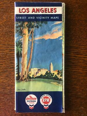 Vintage Los Angeles Ca Chevron Gas Station Street Map Rpm Supreme Motor Oil