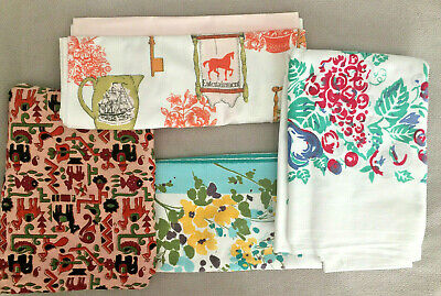 Lot of 3 Vintage Printed Cutter Tablecloths and Batik Fabric