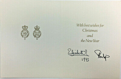 1993 Queen Elizabeth Ii & Prince Philip Signed Photo Christmas Card
