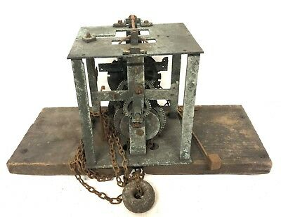 Antique Early LONGCASE GRANDFATHER CLOCK Bird Cage Movement & Seatboard