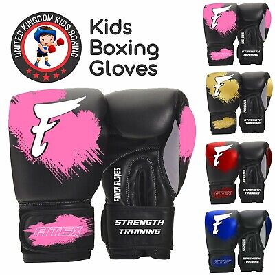Kids Boxing Gloves Junior Punching Bag Mitts Sparring 6oz Gloves MMA Training