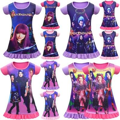 Descendants 3 Cartoon Girls T-Shirt DressNightwear Nightdress Pyjamas Skirts Top