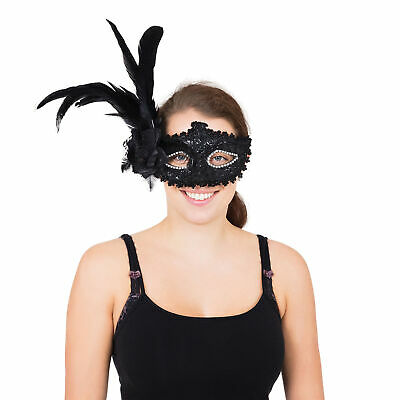 Black Tall Feather Eyemask Masquerade Ball Eye-Mask Eye Mask Fancy Dress