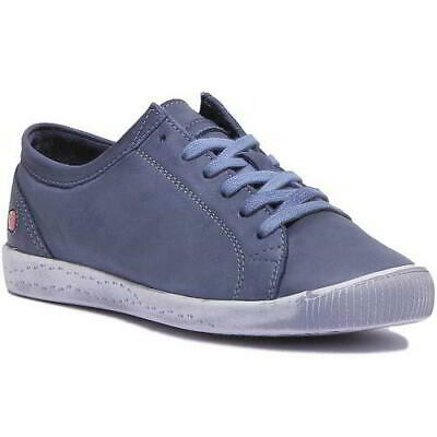 Softinos by Fly London Isla Womens Blue Soft Leather Trainers Shoes Size 4-8