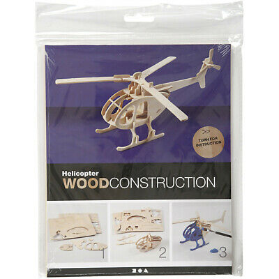 Wood Construction Helicopter Building Kit