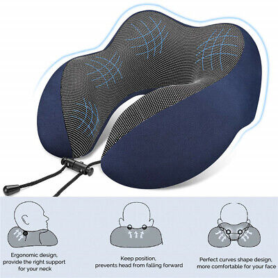 Memory Foam U-shaped Travel Pillow Neck Support Head Rest Airplane Car Sleep New