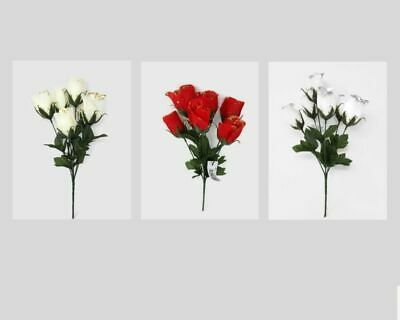 5 Head Glitter Edge Christmas Artificial Rose Flower Bush- White Red or Cream