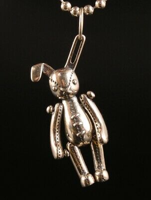 China 925 Silver Hand-Carved Rabbit Statue Pendant Good Luck Gift Collection