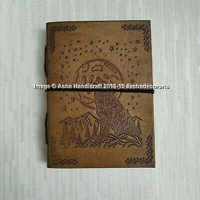 The Moon Halloween Special Handmade Leather Diary Journal Indian Cotton Paper