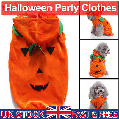 Pet Halloween Party Clothes Puppy Dog Cat Draping Pumpkin Cosplay Costume Sz S-M