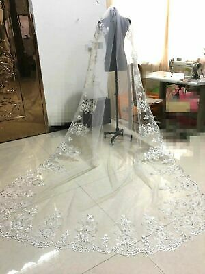 Luxury White Ivory Lace Wedding Veil Bridal Veils Sequin Crystals Cathedral Comb