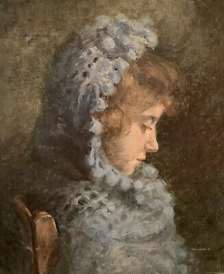 Beautiful C.1900 French Impressionist Oil Painting - Portrait Young Girl In Blue