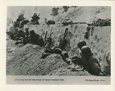 WWII 1944 US Army D-Day Normandy Invasion Photo GI's go over the top, heavy fire