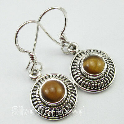 """THEME ANTIQUE ! 925 Solid Silver Genuine TIGER'S EYE ARTISAN Earrings 1.2"""" NEW"""