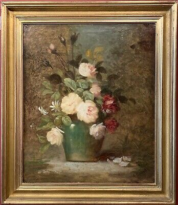 Fine Late 19Th Century French Romantic Oil - Still Life Flowers Natural Setting