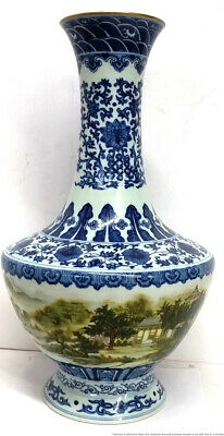 Antique Chinese Qing Tung Chih Blue White Porcelain Landscape Vase Signed