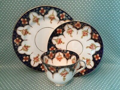 Antique Royal Albert Crown China Imari tea cup, saucer & side plate trio. 4692.