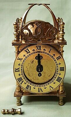Antique Brass Lantern Carriage Clock by Smiths, Wind up movement.  Not working