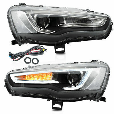 Upgraded SPRAY LACQUER LED Headlights w/ Sequential Turn Signal for 08-17 Lancer